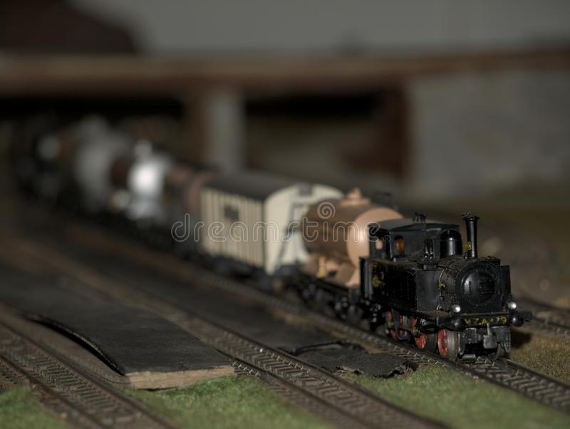 Model train, recreation of a steam engine. HO scale miniature royalty free stock image
