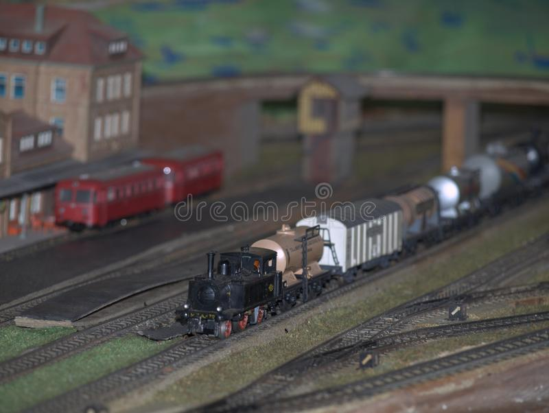 Model train, recreation of a steam engine. HO scale miniature. Model train, recreation of an old steam engine. HO scale miniature royalty free stock photography