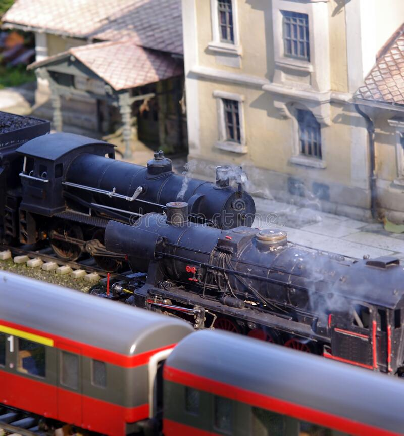 Model train in station. Miniature concept royalty free stock photo