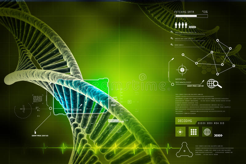 Model of twisted DNA chain. In color background stock illustration