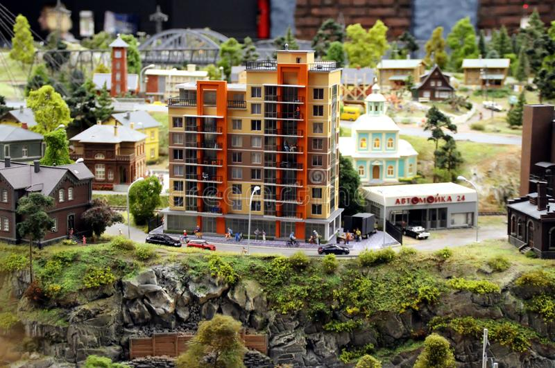 Model of a typical high-rise residential building. Collective image of cities and regions of the Russian Federation, made in miniature. National show-museum ` stock photos