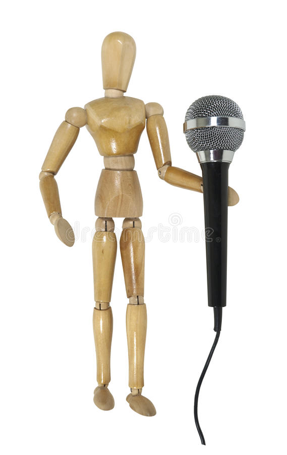 Download Model Using A Audio Microphone Stock Image - Image: 21181149