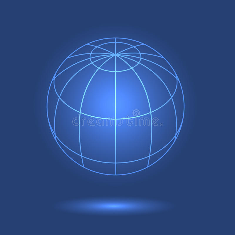 Model van bol op blauwe achtergrond stock illustratie
