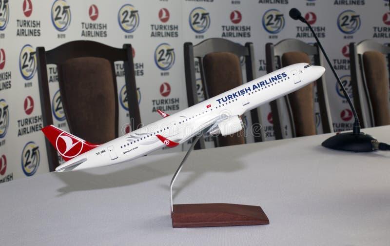 Model van de de Luchtbusa321-200 vliegtuigen van tc-JSE Turkish Airlines stock foto's