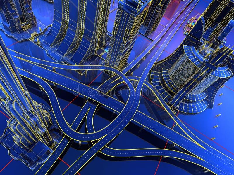 Model van de wegen stock illustratie