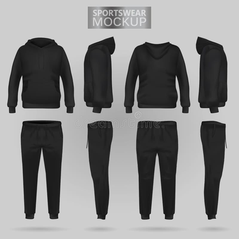 Model van de Zwarte sportkleding hoodie en broeken in vier afmetingen royalty-vrije illustratie