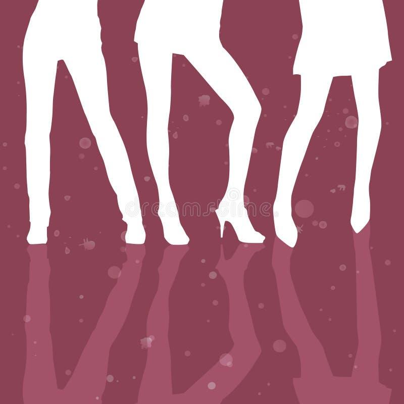 Model van drie meisjes het sexy benen royalty-vrije illustratie