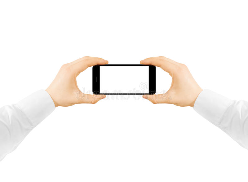 Model van het de telefoon het lege scherm van de mensengreep in twee handen, die foto nemen stock afbeeldingen