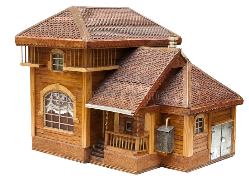 Model van het huis dat van hout wordt gemaakt stock foto's
