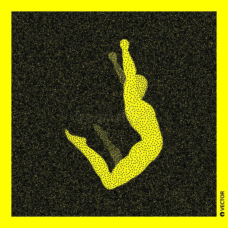 Model van het turner 3d menselijke lichaam Zwart en geel korrelig ontwerp Gestippelde vectorillustratie stock illustratie