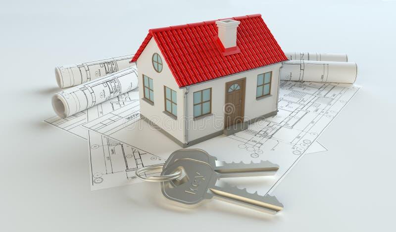 Model van huis en sleutelring op blauwdruk stock foto