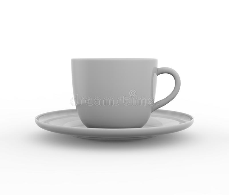 Model van koffie of theekop op plaat vector illustratie