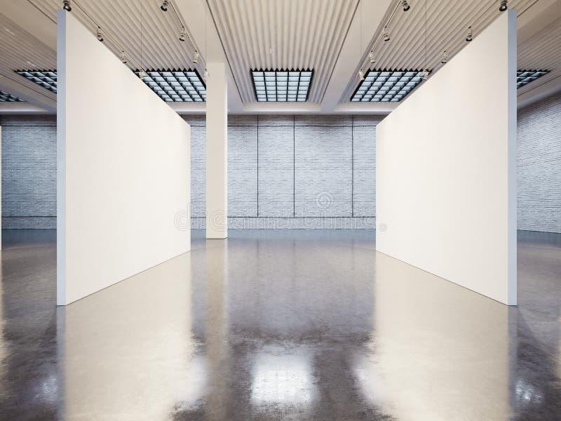 Model van leeg galerijbinnenland met wit canvas royalty-vrije stock foto's