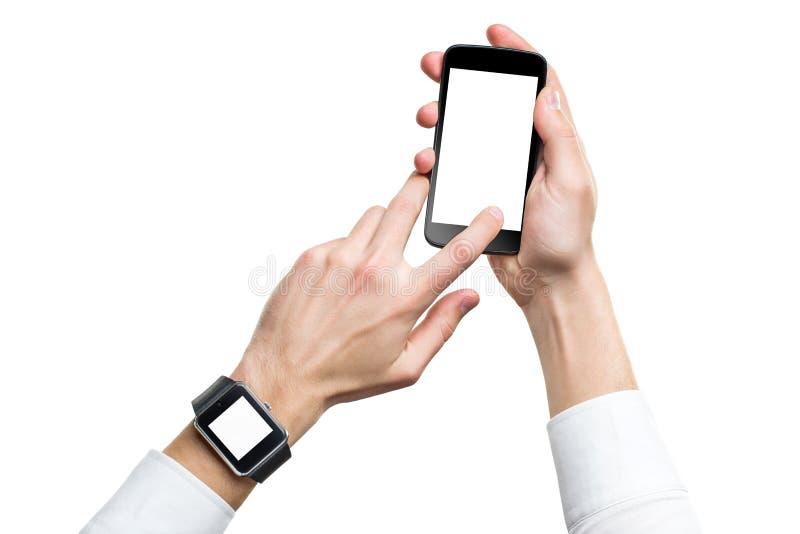 Model van mannelijke handen met cellphone en slim horloge met het lege scherm royalty-vrije stock afbeeldingen