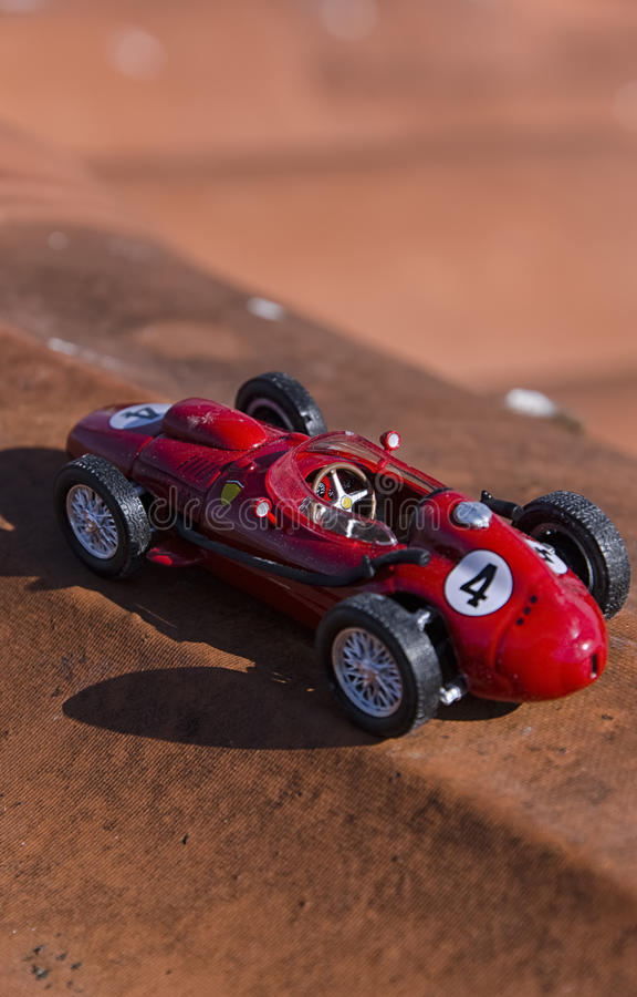 Model of a vintage Formula one car. View model of a vintage Formula one car royalty free stock photos