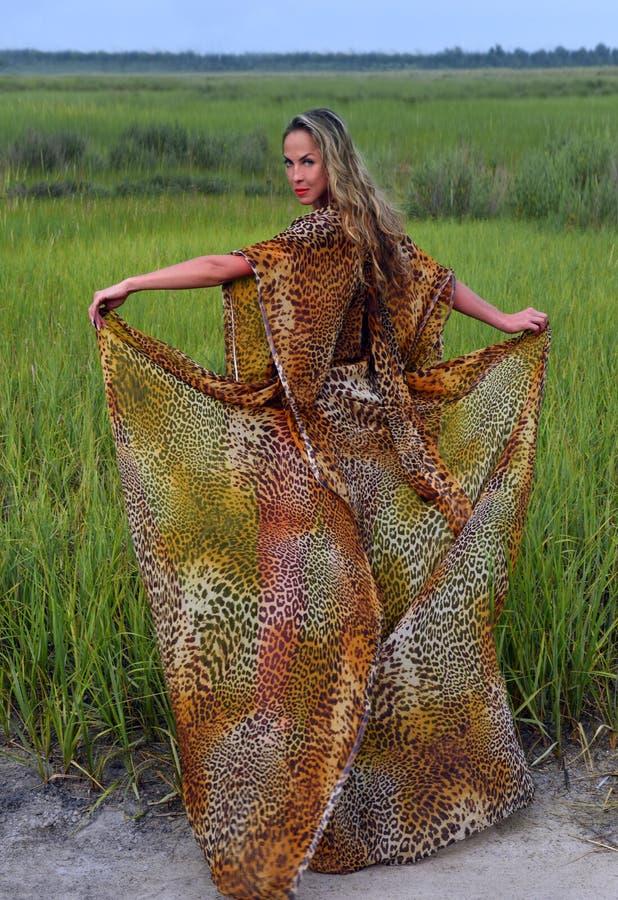 Model w długiego zwierzęcego druku smokingowy pozować przy trawy polem obrazy royalty free