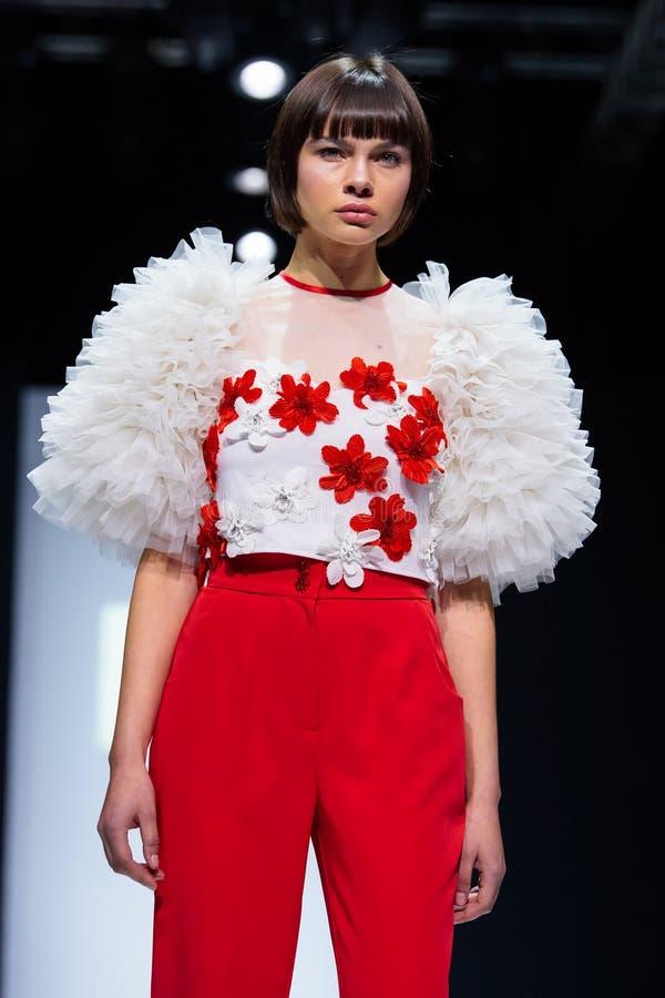 Model walk runway for ANNETTE HOFFMANN catwalk at Autumn-Winter 2017-2018 Moscow Fashion Week stock photo