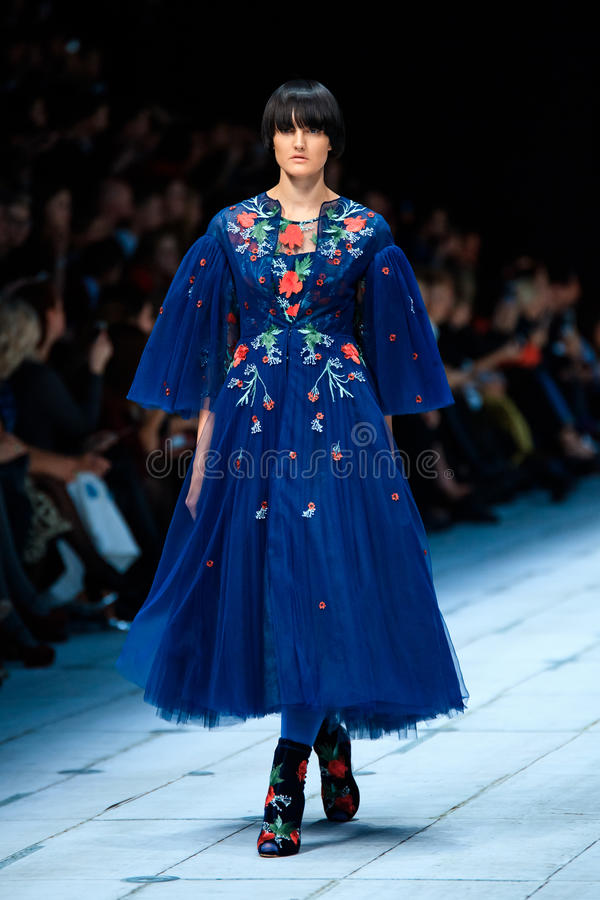 Model walk runway for FABERLIC by ALENA AKHMADULLINA catwalk at Spring-summer 2017 Mercedes-Benz Fashion Week Russia. stock image