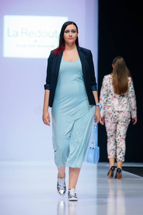 Model Walk Runway For La Redoute Plus Size Moscow Catwalk At Autumn Winter 2017 2018 Moscow