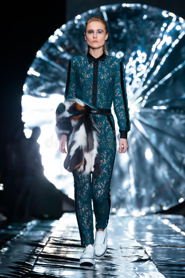 Model walk runway for SENSUS COUTURE catwalk at Fall-Winter 2017-2018 at Mercedes-Benz Fashion Week Russia. stock image