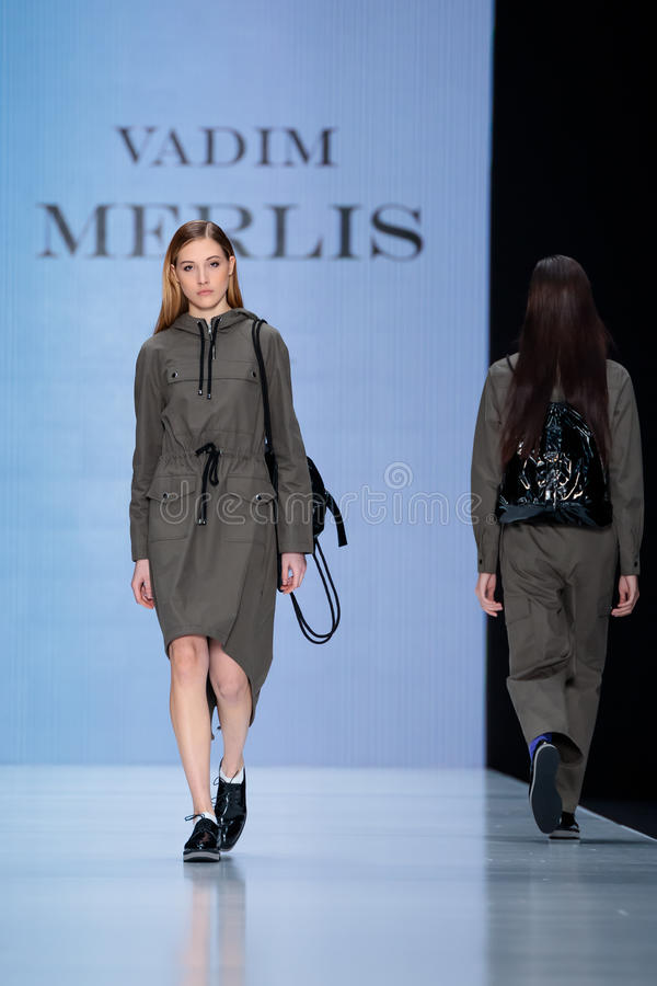 Model walk runway for vadim merlis catwalk at fall winter for Mercedes benz fashion week