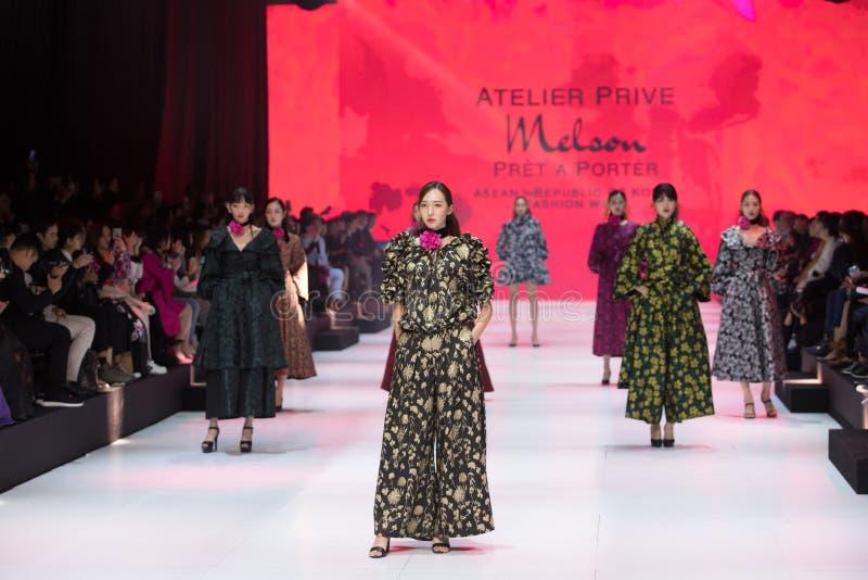 Model walks in Fashion Show of 2019 ASEAN Korea stock photography
