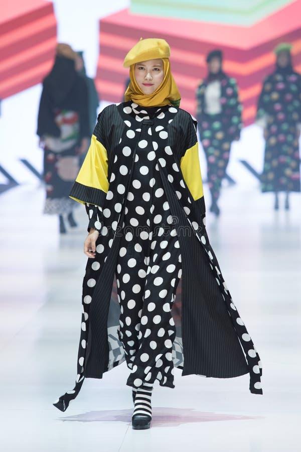 Model walks in Fashion Show of 2019 ASEAN Korea royalty free stock image