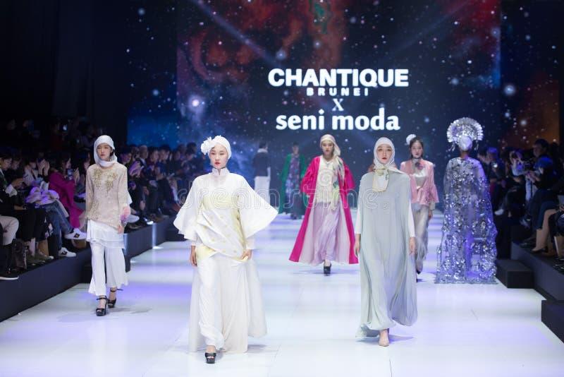 Model walks in Fashion Show of 2019 ASEAN Korea stock photos