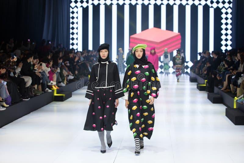 Model walks in Fashion Show of 2019 ASEAN Korea royalty free stock photography