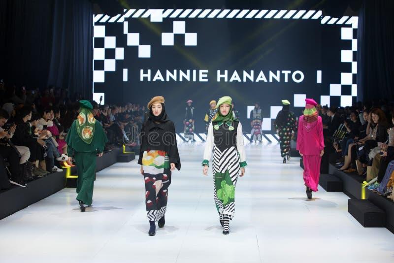 Model walks in Fashion Show of 2019 ASEAN Korea stock image
