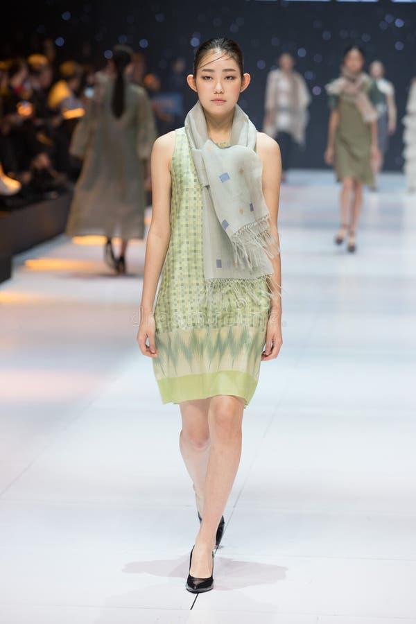 Model walks in Fashion Show of 2019 ASEAN Korea royalty free stock photo