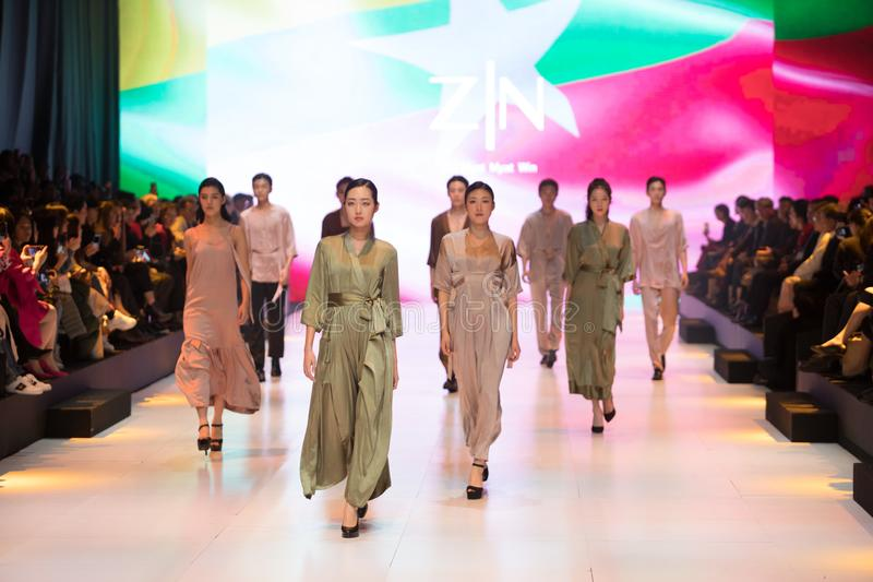 Model walks in Fashion Show of 2019 ASEAN Korea royalty free stock images
