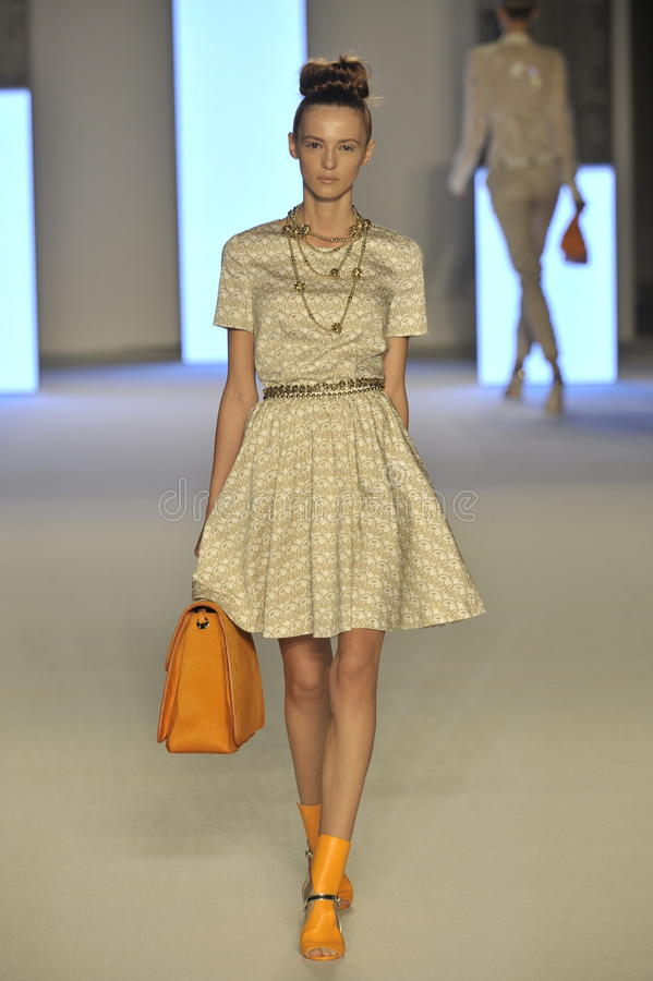 A model walks the runway during the Aigner show as a part of Milan Fashion Week stock images