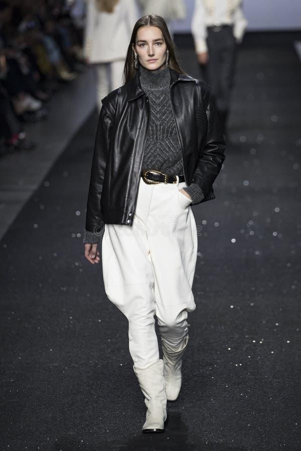 A model walks the runway at the Alberta Ferretti show at Milan Fashion Week Autumn/Winter 2019/20 royalty free stock photos