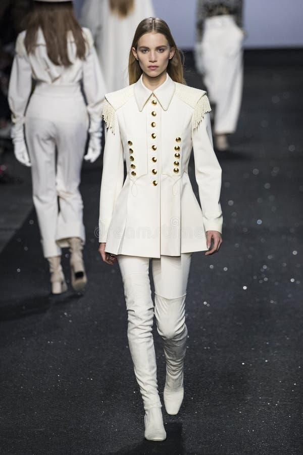 A model walks the runway at the Alberta Ferretti show at Milan Fashion Week Autumn/Winter 2019/20 stock photography