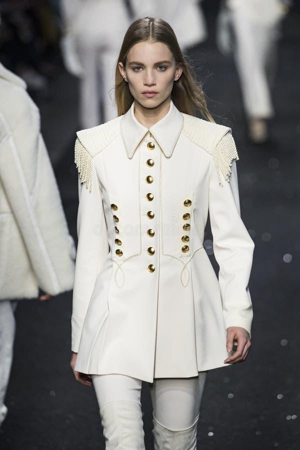 A model walks the runway at the Alberta Ferretti show at Milan Fashion Week Autumn/Winter 2019/20 royalty free stock photo