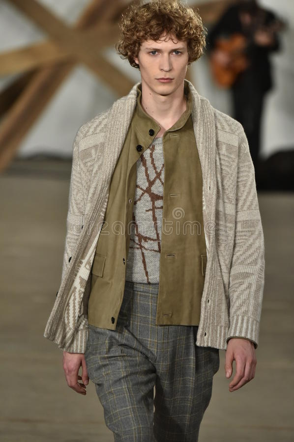 A model walks the runway at the Billy Reid fashion show during New York Fashion Week Men's Fall/Winter 2016. NEW YORK, NY - FEBRUARY 03: A model walks the runway stock photography
