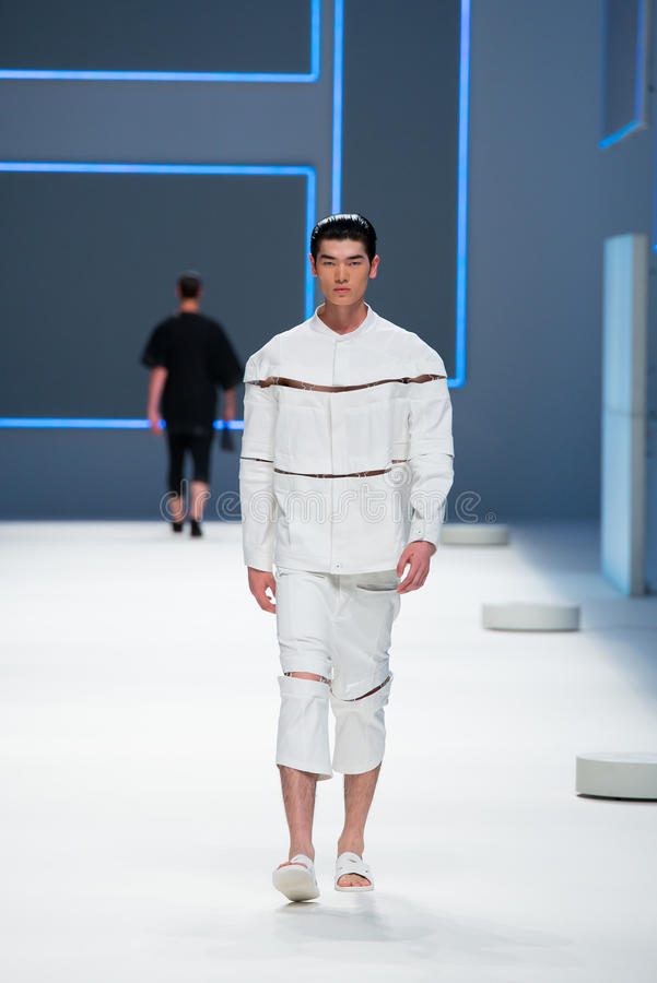 A model walks the runway for the Blame Label collection at the 080 Barcelona Fashion Week 2015 royalty free stock images