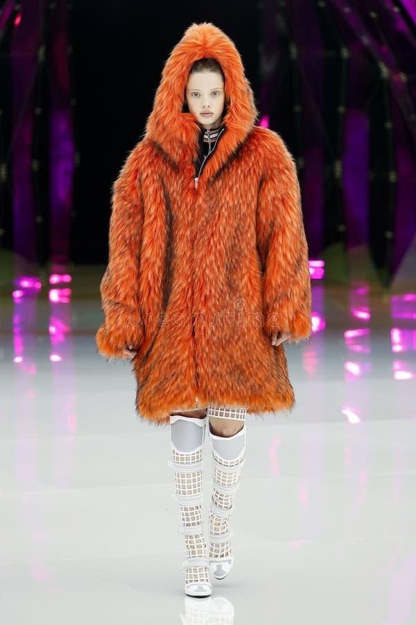 A model walks the runway at the Byblos show at Milan Fashion Week Autumn/Winter 2019/20. MILAN, ITALY - FEBRUARY 20: A model walks the runway at the Byblos show stock image