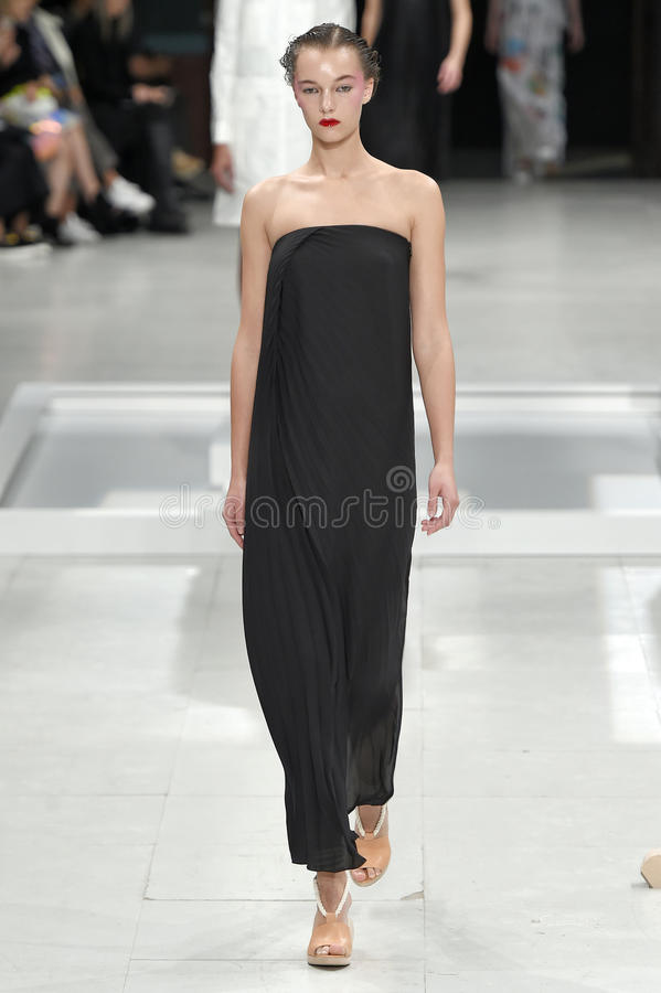 A model walks the runway during the Chalayan show stock photo