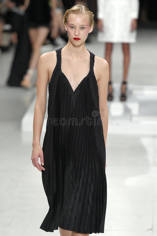 A model walks the runway during the Chalayan show royalty free stock photo