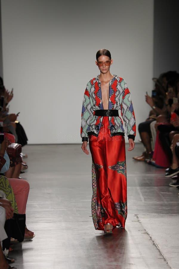 A model walks the runway at the Custo Barcelona fashion show stock photos