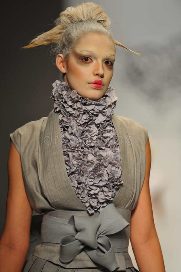 A model walks the runway at Furne One show stock images