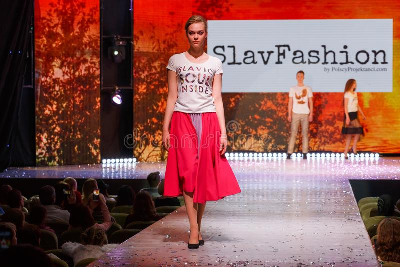 Model walks the runway royalty free stock image