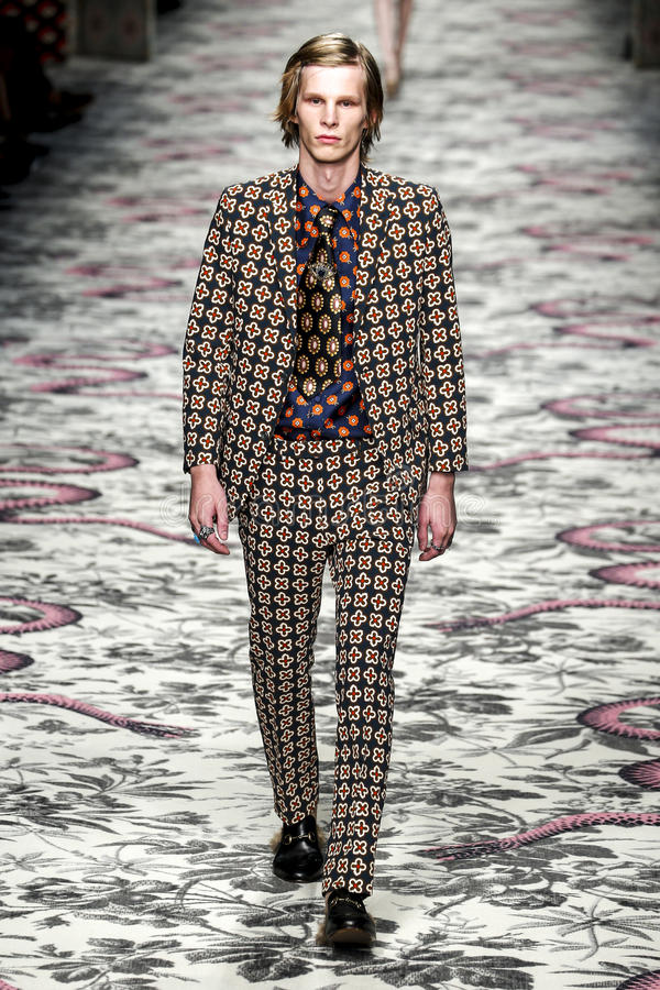 A model walks the runway during the Gucci show stock images