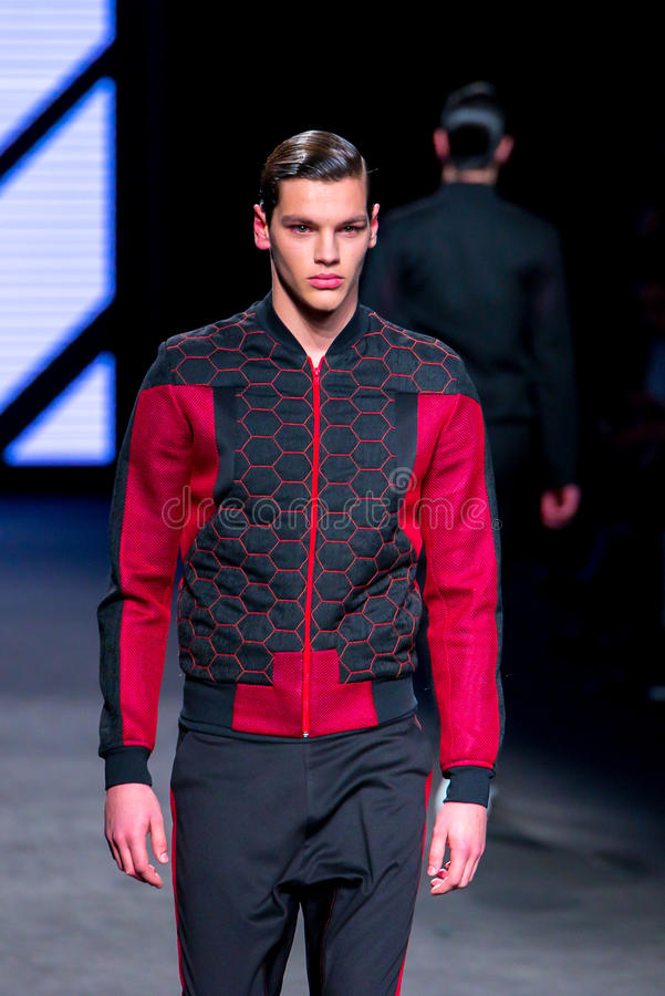A model walks the runway for the Isometric collection at the 080 Barcelona Fashion Week 2015 stock photography