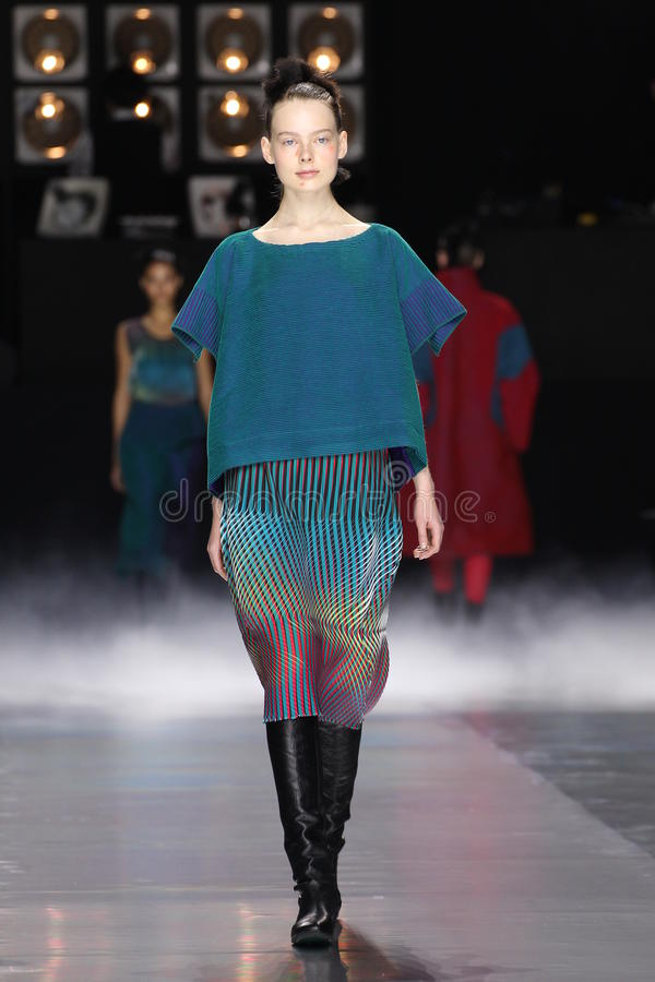 A model walks the runway during the Issey Miyake show. PARIS, FRANCE - MARCH 04: A model walks the runway during the Issey Miyake show as part of the Paris royalty free stock images