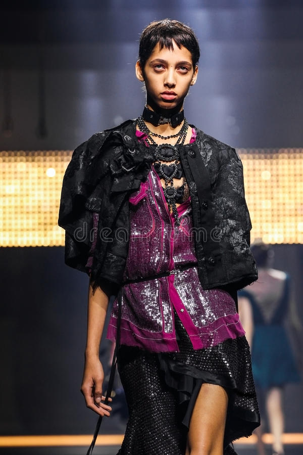 A model walks the runway during the Lanvin show. PARIS, FRANCE - OCTOBER 01: A model walks the runway during the Lanvin show as part of the Paris Fashion Week stock photography