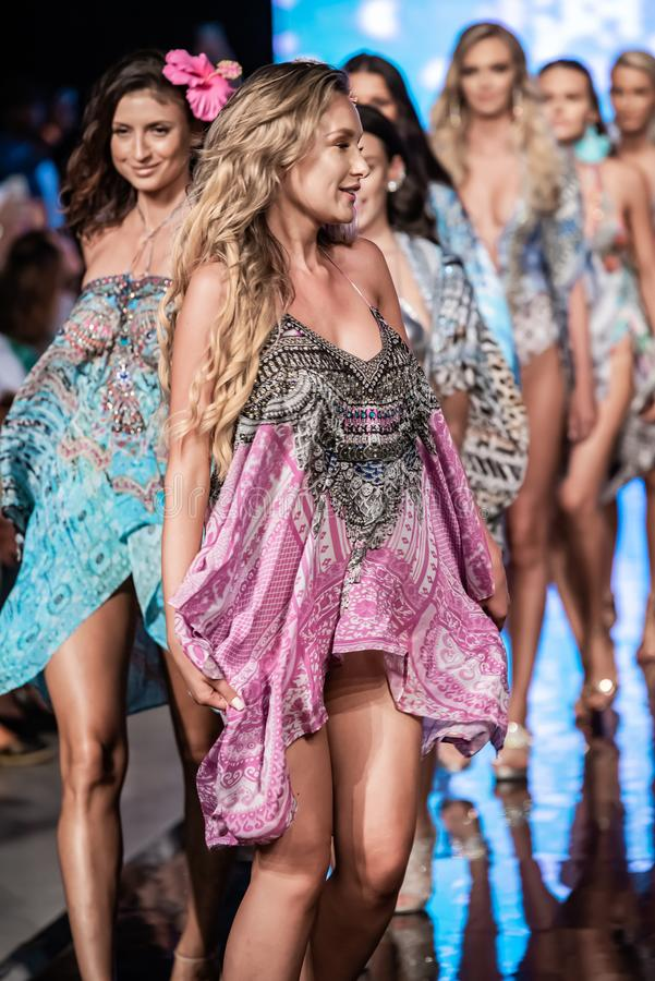 A model walks the runway at Miami Swim Week 2019 stock images