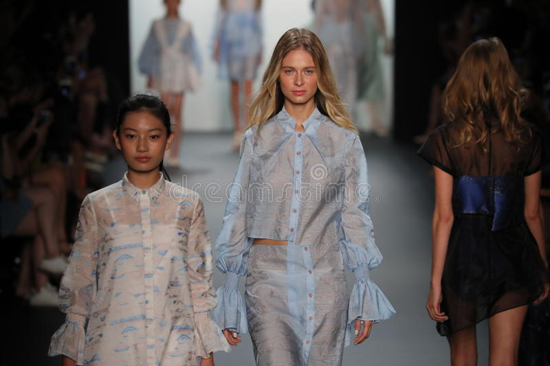 A model walks the runway at the Vicky Zhang Parent Child Collection S/S 2017. NEW YORK, NY - SEPTEMBER 10: A model walks the runway at the Vicky Zhang Parent stock photos
